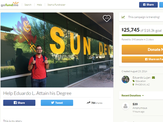 Eduardo Lujan-Olivas has raised more than $25,000 to