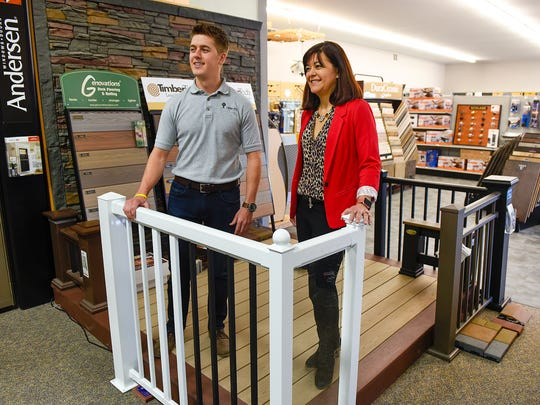 Jack Brandes, residential home specialist and project manager, and Barb Brandes, co-owner of Lumber One talk about the expansion and remodel of Lumber One Tuesday, March 21, in Avon.