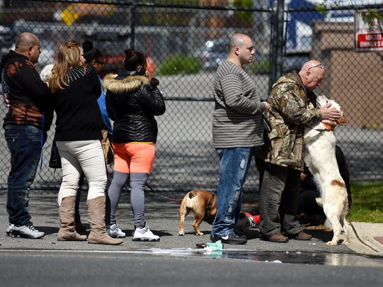 Anthony Parga pets his dog, Rubio, an English Setter while waiting in line with his grandson, Michael Flores for Rubio's  free vaccination against rabies at Firehouse No. 1 in Paterson on Sunday, May 14, 2017. The program runs through Sunday, May 21, 2017 at various firehouses throughout the city.
