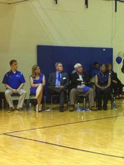 Former Coach Charles 'Pepper' Bray shares his gratitude for the rededication of Lambuth's basketball court in his name Saturday at True Blue Day.