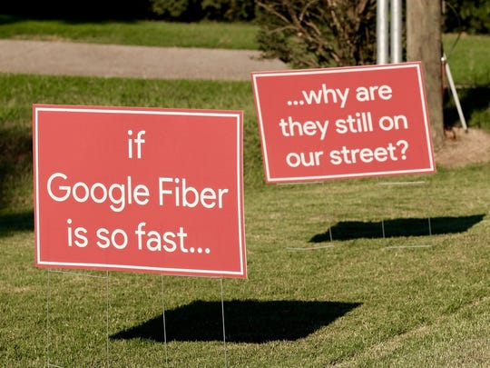 In the past year, there have been inconveniences while waiting for Google Fiber. The digging equipment, front-end loaders, orange cones and netting, and work crews have constricted traffic on city streets. One citizen resorted to his own form of protest on a street.