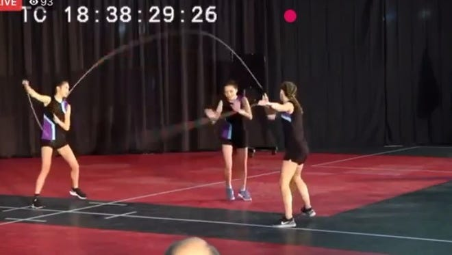 Screenshot from a video of JumpForce competing at the USA Jump Rope championship.