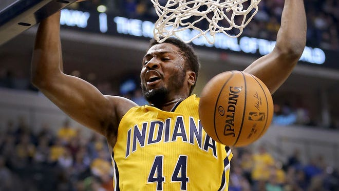 Solomon Hill of the Indiana Pacers is shown dunking the ball. Forbes magazine says the Pacers' value has skyrocketed by $355 million, or 74 percent, just since last year to $830 million. That means the Pacers now ranks 21st out of 30 NBA teams.