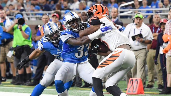 Tough cuts will have to come at cornerback and Lions' Alex Carter (33), a former third-round pick, could be on the chopping block.