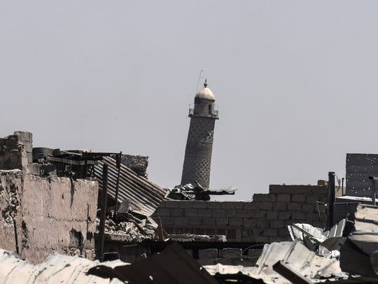 A picture taken June 19, 2017, shows the leaning Al-Hadba