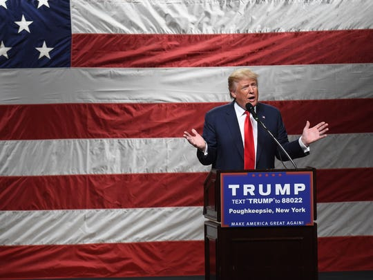 Donald Trump addresses crowd at the Mid-Hudson Civic Center in the City of Poughkeepsie on April 17.