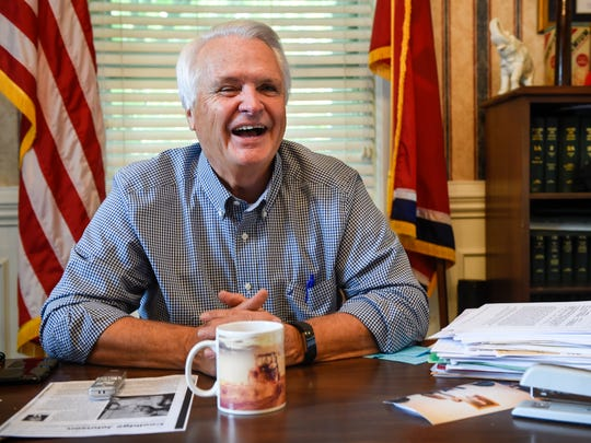 Lt. Gov. Ron Ramsey laughs while he sits in his office