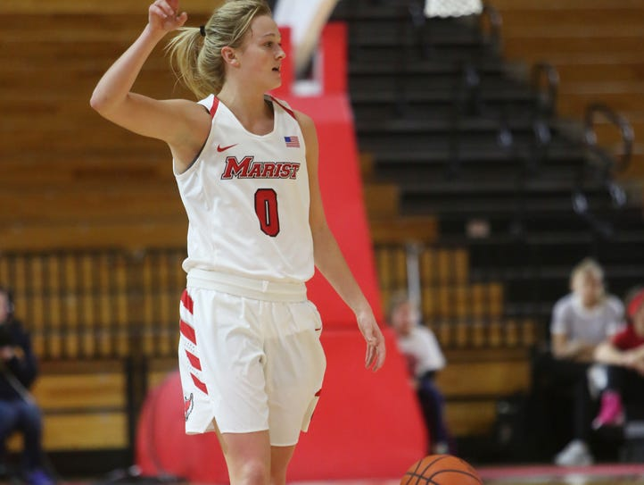 Marist College guard Grace Vander Weide calls out a
