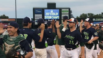 The Vermont Lake Monsters celebrate their Stedler Division championship-clinching 7-4 win over Tri-City last week at Centennial Field.
