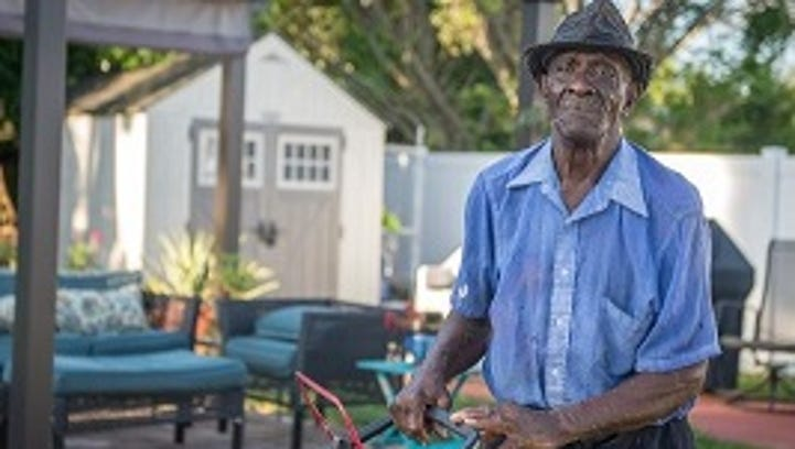 This 83-year-old is walking miles to mow lawns