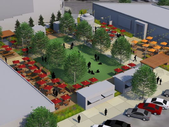 The proposed plaza at The Exchange, a Brinkman redevelopment of the 200 block of North College Avenue between Pine Street and Jefferson Street is shown in this rendering. The site is now a parking lot between CopperMuse Distillery and the former Compass Cidery.
