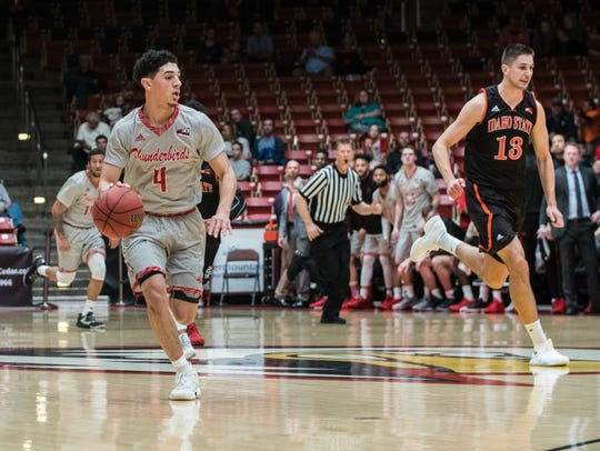 Dre Marin dribbles the ball during SUU's 84-40 win