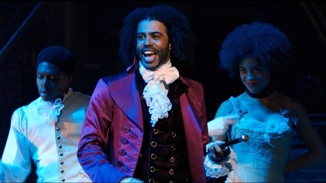 """Daveed Diggs portrays Thomas Jefferson in a filmed version of the original Broadway production of """"Hamilton."""""""