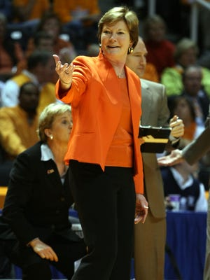 Pat Summitt laughs with a referee during the game against Dayton in the second round of the NCAA Tournament on March 22, 2010.
