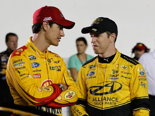 The NASCAR spotlight will shine brighter on Penske teammates Joey Logano, left, and Brad Keselowski when the current crop of veterans call it quits.