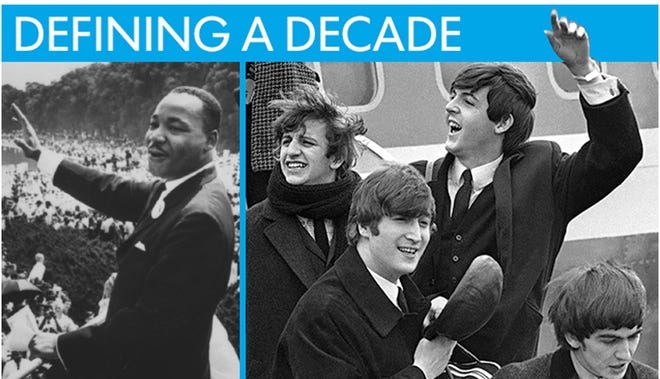 "The 1960s were shaped, in large part, by the fight for equality for black Americans and the rock-and-roll revolution that changed music and popular culture. Fifty years ago, in February 1964, these two touchstones of a decade took center stage. USA TODAY Network looks back at two key moments in history -- The Beatles' appearance on ""The Ed Sullivan Show"" and passage of the 1964 Civil Rights Act in the House -- when it became clear: America was changing."