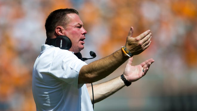 Tennessee Head Coach Butch Jones during Tennessee's game against UMass in Neyland Stadium on Saturday, Sept. 23, 2017.