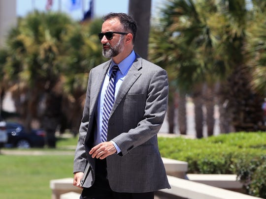 Stephen Byrne, a defense attorneys, arrives at the United States Courthouse in Corpus Christi, TX on Tuesday, May 30, 2017. Several people charged in a fraud scheme against Koch Pipeline.