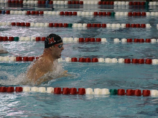 Hutch Blackstone competes in the MAC Championships, where he earned six medals for Miami University