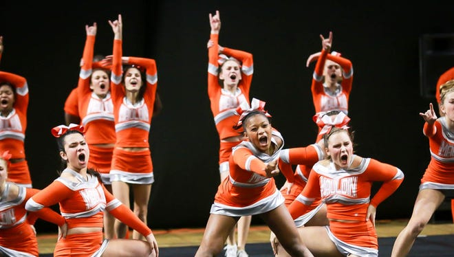 Mauldin's competitive cheer team, shown at last year's state finals, took second at the recent state qualifier.