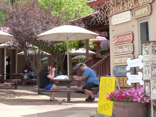 shoppers at Times Square in Ruidoso