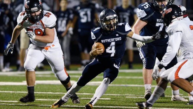 From 2017: Rutherford running back Rich Marques in last year's NJIC championship game, which the Bulldogs beat Hasbrouck Heights 14-7 in overtime.