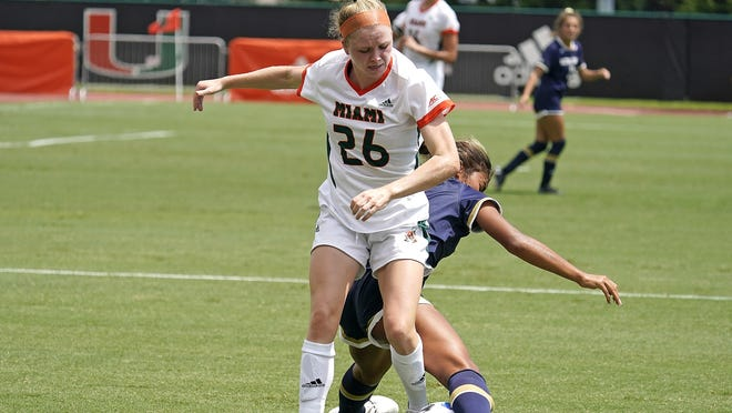 University of Miami midfielder Emma Tucker, of Marshfield, plays against the University of Notre Dame at Cobb Stadium, Coral Gables, Florida. Photo courtesy of University of Miami Athletics