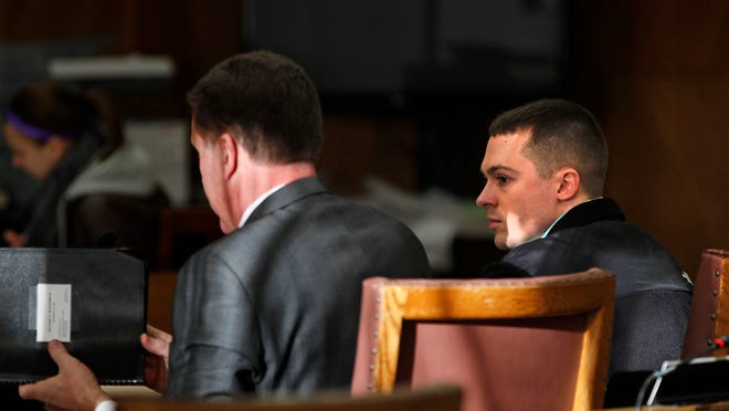 Ryan Jorgenson (right) appears with his lawyer in Judge Scott Woldt's courtroom last week at the Winnebago County Courthouse in Oshkosh. Jorgenson was found guilty of first-degree reckless homicide in the May death of a 3-year-old Town of Menasha girl.