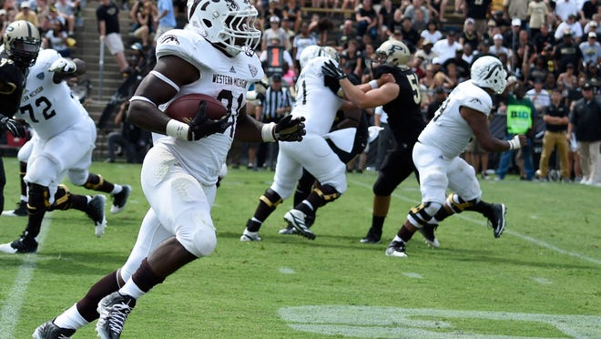 Western Michigan  running back Jarvion Franklin  ran for 3 touchdowns Saturday, but  Purdue won the game 43-34.