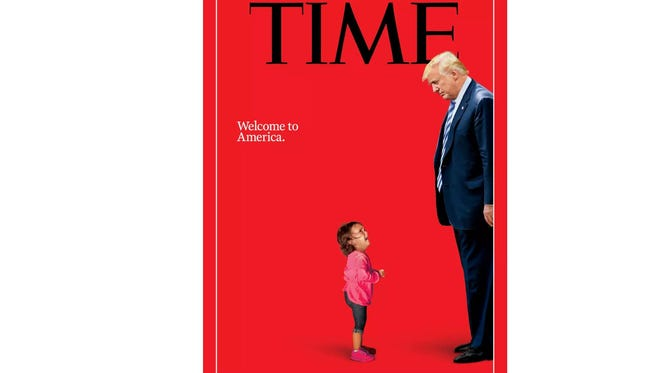 "Time magazine's ""Welcome to America"" cover for its July 2018 issue."