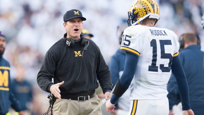 Jim Harbaugh's khakis are the Ohio governor's latest target on rivalry week.