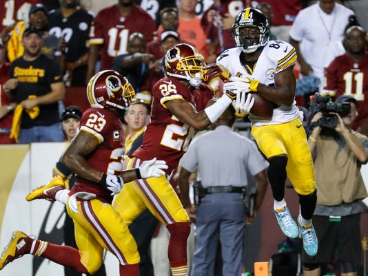 Pittsburgh Steelers wide receiver Antonio Brown (84) pulls in a touchdown pass under pressure from Washington Redskins cornerback Bashaud Breeland (26) during the first half of an NFL football game in Landover, Md., Monday, Sept. 12, 2016. (AP Photo/Alex Brandon)