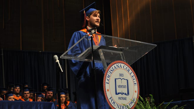Zach Fleming speaks Saturday morning during Louisiana College's 160th commencement.