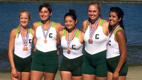 The Casitas Rowing kids medaled in three events, including a Varsity Girls boat, at the Long Beach Invitational. Pictured (left to right): Kaylie Dawson, Jackie O'Connor, Rebecca Moya, Lisa Leap and Hannah Hassien.