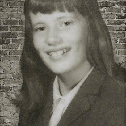 This edited version of a class photo of Peggy Reber