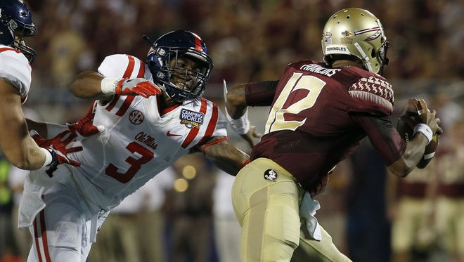 Linebacker DeMarquis Gates (3) led Ole Miss with 79 tackles this past season.