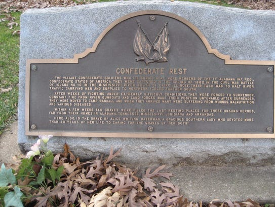 The Confederate Rest monument at the Forest Hill Cemetery