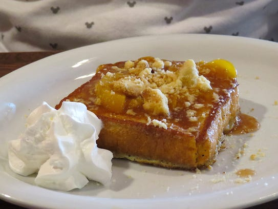 Peach cobbler French toast is seen at DW's Country