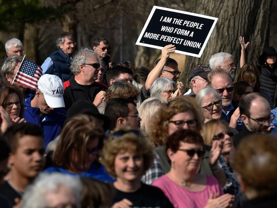 Hundreds gather in Centennial Park for the Silent Inauguration
