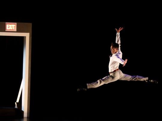 Guest dancer Jim Nowakowski dances to a U2 song during the Rochester City Ballet's show, Ballet on the Edge at Nazareth College Art Center.