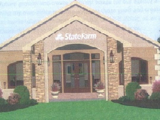 A rendering of what the new State Farm Insurance office on Thomas Street may look like.