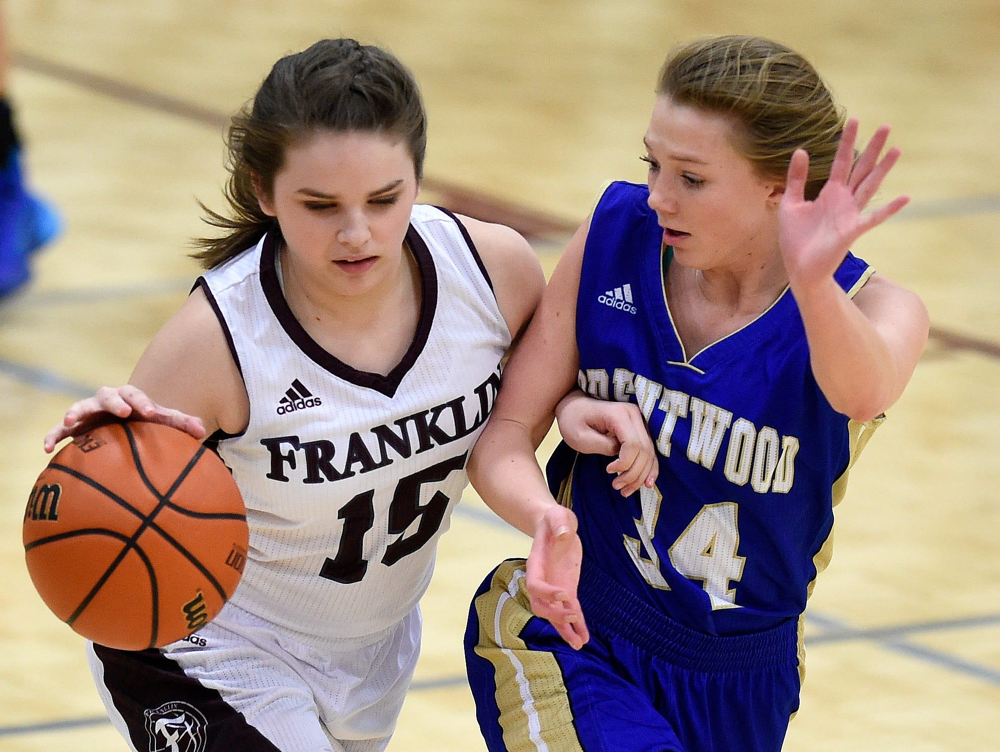 Franklin's Grace Gardner (15) is guarded by Brentwood's Morgan Mevak (34) during the second half at Franklin High School, Tuesday, Feb. 16, 2016, in Franklin, Tenn.