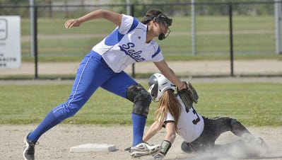 Slapping a tag on a baserunner last season is Salem shortstop Maranda Armstead, entering her fourth varsity season.