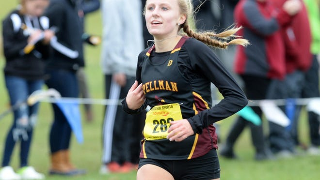 Cardinal Spellman's Emma Grzybinski, during the EMass cross country championships at the Development Center in Wrentham, on Saturday,  Nov. 10, 2018.
