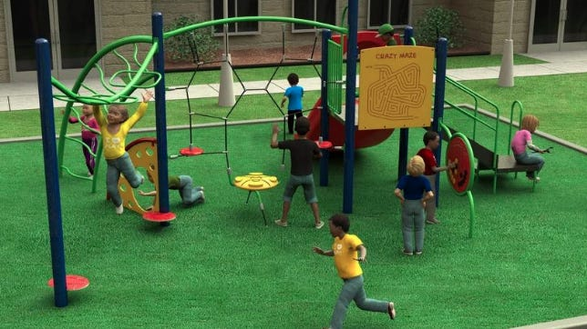 A rendering depicts the playground equipment that will be installed at Trigg Park.