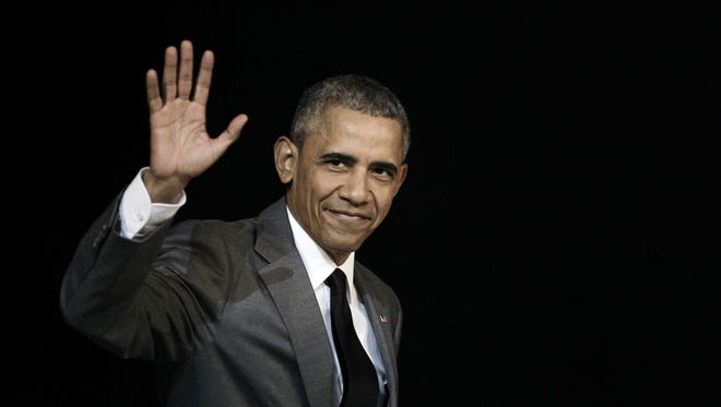 A file picture dated March 22, 2016 shows President Obama arriving to address the people of Cuba at the El Gran Teatro de Havana, during a historic visit to Havana, Cuba.