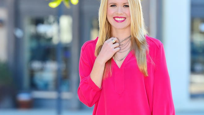 Model: Carly Borden. In the evening, dress up your white jeans with this hot pink silk top by Toupy Paris, $254, for a punch of color that promises spring is in the air. This silver clutch by Clare V., $178, adds sparkle, Fig at Duh for Garden and Home.