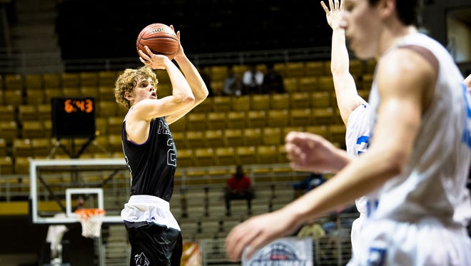 Prattville Christian's Cooper Meadows shoots a 3-pointer during the AHSAA Regional Semifinal game on Monday, Feb. 19, 2018, at the Acadome in Montgomery, Ala.