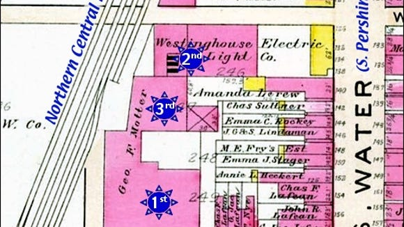 Section of Plate 9 from an Original of the 1903 Atlas of the City of York, PA, by Fred'k B. Roe (Annotated by S. H. Smith, 2016)