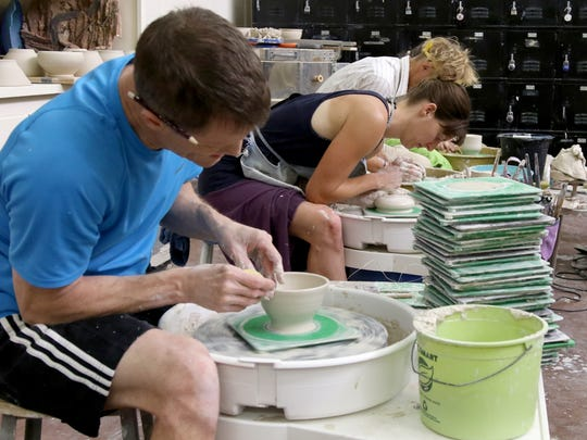 In this file photo, Steve Hilton, associate professor at Midwestern State University, makes a bowl at a Wichita Falls Area Food Bank Bowl-A-Thon in 2018.